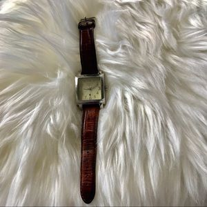 Silpada Design Silver Tone  Watch  Leather Band